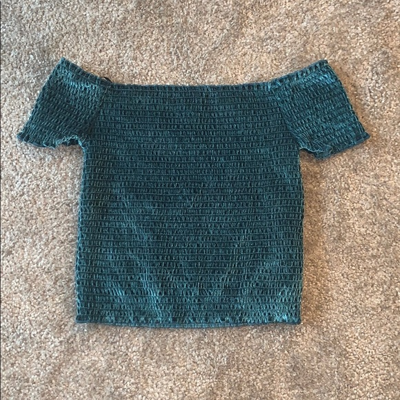 Emerald green velvet off the shoulder top!
